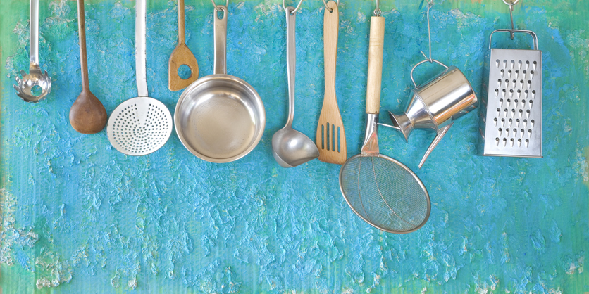 Kitchen utensils to use as props for a sensory story.