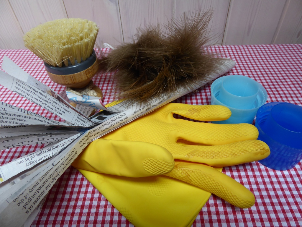 Variety of household objects - tactile props for a sensory story - Marigold gloves, scrubbing brush, newspaper, feathers and two bottle lids.