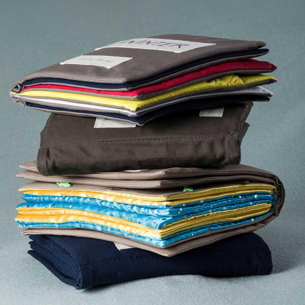 Pile of fabric books